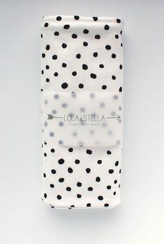 swaddle blanket Organic baby blanket in  black polka dots by LolaandStella