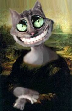 """Mona Cat Smiling"" - art by filoxera, via megamonalisa     ...can't decide if this is funny or disturbing..."