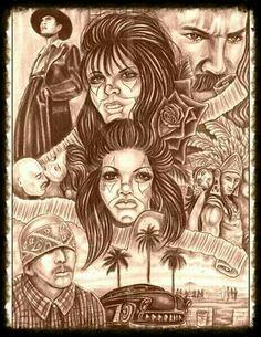 Old school Chicano Art Tattoos, Chicano Drawings, Gangster Tattoos, Tattoo Drawings, Lowrider Tattoo, Lowrider Art, Arte Cholo, Cholo Art, Aztec Warrior Tattoo