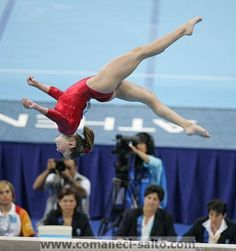 Carly Patterson on beam in Athens, 2004.