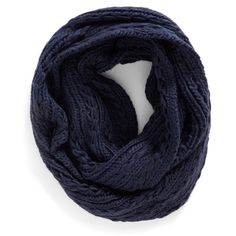 Lulu Cable Knit Infinity Scarf (Juniors) ($7.97) ❤ liked on Polyvore featuring accessories, scarves, navy, navy shawl, infinity loop scarves, circle scarf, tube scarves and navy infinity scarf