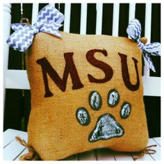 CHRISTMAS IN JULY! Use coupon code: XMAS7 at checkout and receive free shipping!   READY TO SHIP Mississippi State Burlap by SouthernFCreations, $35.00