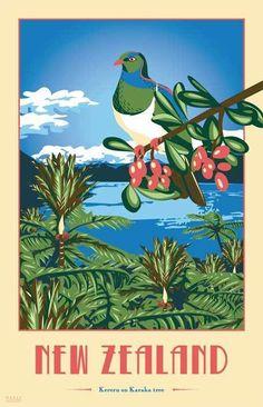 NZ Art Deco Tea Towels by Marie Ockleford, via Behance Graphic Design Illustration, Illustration Art, Zealand Tattoo, New Zealand Art, Nz Art, Kiwiana, Illustrations, Vintage Travel Posters, Unique Art