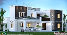 3155 sq-ft 4 bedroom modern house plan 4 bedroom 3155 square feet contemporary style house plan by Dream Form from Kerala. Box House Design, Village House Design, Kerala House Design, Bungalow House Design, Small House Design, Best Modern House Design, New Model House, Layouts Casa, Modern Exterior House Designs
