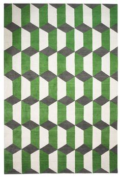 Pattern like this could bring depth to the LED display even without variation in color. Chiesa Green Rug by Suzanne Sharp for The Rug Company. Graphic Patterns, Color Patterns, Print Patterns, Motifs Textiles, Textile Patterns, Geometric Designs, Geometric Shapes, Geometric Patterns, Motif Art Deco