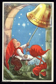"""Two elves ringing the bell - Artist Lucie Lundberg """" Christmas Elf, Christmas Wishes, All Things Christmas, Xmas, Vintage Christmas Cards, Vintage Cards, Holiday Cards, David The Gnome, Scandinavian Christmas"""