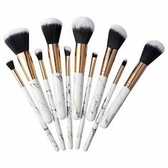 Marble Makeup Brush Set, by Zodaca Marble Handle Design Professional Cosmetic Face Makeup Brushes Set Foundation Base Eyes Powder Eyeshadow Eyeliner Highlighting Blush Blending Kit Count) - Eye Makeup Tutorials and Tips Diy Makeup Brush, Best Makeup Brushes, Makeup Brush Cleaner, How To Clean Makeup Brushes, Makeup Brush Holders, Lip Brush, It Cosmetics Brushes, Best Makeup Products, Face Makeup