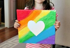 Rainbow Heart Art - would be a cute idea at as a birthday party craft