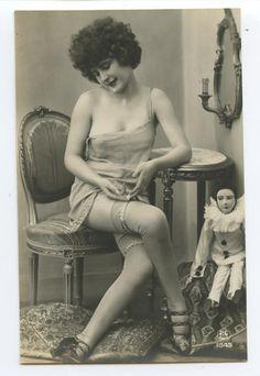 Adjusting Her Garter!  1920s risque postcard