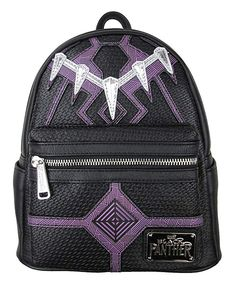 Although you may not get the strength of the Black Panther, you are sure to turn heads when wearing this Loungefly Black Panther Faux Leather Mini Backpack! This faux leather mini backpack is black and purple and resembles the Black Panther's necklace. Backpack Purse, Fashion Backpack, Marvel Backpack, Moda Pop, Mini Mochila, Marvel Clothes, Black Panther Marvel, Marvel Universe, Cute Backpacks