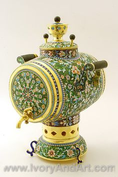 Russian Silver & Enamel  Green - Samovar with tray & six Cups Big