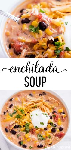 Crockpot meals 544583779944742653 - Slow Cooker Chicken Enchilada Soup – Creamy, warm and absolutely delicious! One of my favorite 'set it and forget it' crockpot meals that's perfect for busy weeknights! Slow Cooker Huhn, Slow Cooker Soup, Slow Cooker Chicken, Slow Cooker Recipes, Crockpot Recipes, Soup Recipes, Chicken Recipes, Recipies, Steak Recipes