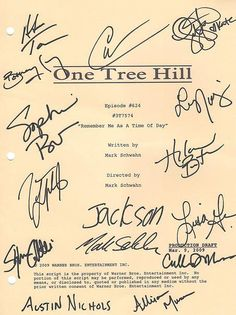Script of OTH signed by the cast!
