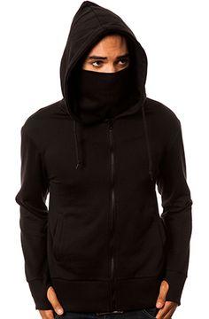ARSNL The Jiro Zip Up Ninja Hoodie in Black - Size L