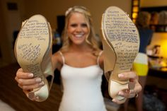bridesmaids write heartfelt notes on the bride's shoes - fun idea!