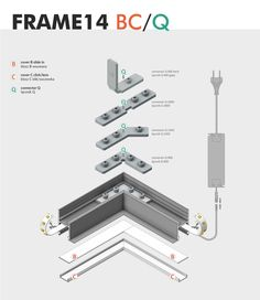 FRAME14 LED PROFILE Profile Led for installation with plasterboards. Its primary use is assembly in suspended ceiling. In this arrangement the profile can act directly as constructional function. A large number of compatible connectors Q allows for a much wider applications, construction and illumination of complex architectural details. When using the LED strips 120 p/m and white cover, it is possible to obtain a continuous line of light. For use with LED strip with max width of 14 mm.