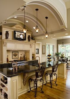 Love the kitchen Ceiling!  Old-world Italiante Setting with Practical New-world Lighting & Fixtures