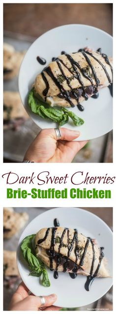 Dark Sweet Cherries Brie-Stuffed Chicken with @oregonfruit