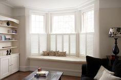 Cafe Style Shutters for Bay Windows : Blinds & shutters by Plantation Shutters Ltd Home Living Room, Living Room Decor, Bay Window Living Room, Dining Room, Cafe Style Shutters, Window Seat Storage, Bay Window Seats, Window Seat Curtains, Bay Window Blinds