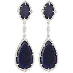 Judith Ripka Sophia Navy Sapphire Double-Drop Earrings ($1,060) ❤ liked on Polyvore featuring jewelry, earrings, navy, pave jewelry, judith ripka, post earrings, navy blue earrings and pave drop earrings
