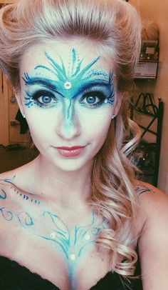 Disney Elsa Frozen Blue Makeup - 2014 Halloween Blue Glitter Face Paint for Party