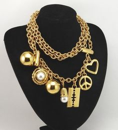 SOLD !Rare vintage 80's MOSCHINO belt/necklace - most amazing charms - absolutely fabulous piece -