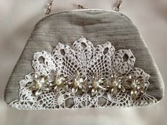 Special occasion handbag clutch bag purse in silver silk dupion with lace detail and crystal wedding mother of the bride/groom by JitkasHandmadeGifts on Etsy