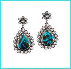 Madyha Farooqui - Chrysocolla & diamond earrings. Seen in Vogue Daily — statement earrings http://www.vogue.com/vogue-daily/article/shop-the-video-accent-earrings-from-the-vogue-closet/#1