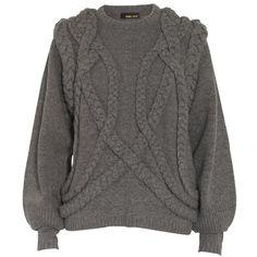 Lambswool strik sweater med flet ($380) ❤ liked on Polyvore