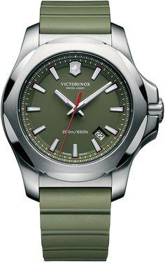 Victorinox Swiss Army Men's Inox Green Rubber Strap Watch 43mm 241683.1