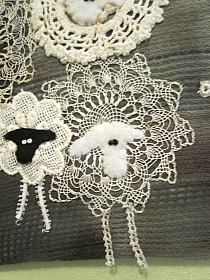 I love the idea of adding sheep faces to vintage doilies! Motifs Applique Laine, Wool Applique Patterns, Felt Applique, Quilt Patterns, Fabric Art, Fabric Crafts, Sewing Crafts, Sewing Projects, Sheep Crafts