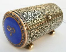 "Antique C1930s Brass & Enamel Ornate Cylindrical Trinket Box Casket ""Kinco""."