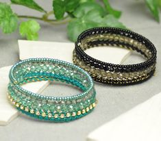 DIY memory wire bracelets with wrapped rhinestone cupchain