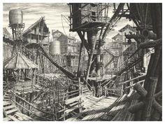 "Gérard Trignac - Illustrations de ""Les villes invisibles"" d'Italo Calvino Art Visionnaire, Invisible Cities, Building Sketch, City Illustration, Environment Concept Art, Fantasy Landscape, Fantastic Art, French Artists, Art Boards"