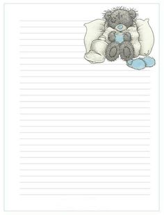 Printable Lined Paper, Free Printable Stationery, Stationery Craft, Baby Scrapbook, Scrapbook Paper Crafts, Lined Writing Paper, Baby Clip Art, Bear Wallpaper, Tatty Teddy