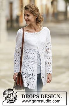 Drops 162-28, Crochet jacket worked top down in Cotton-Light