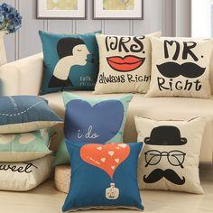 História de amor de Linho de Algodão Almofada Do Sofá 45x45 cm/17.7x17.7 ''Sweetlove Throw pillow Home & jardim Têxtil assento almofada Decoração Da Sua Casa em Almofada de Home & Garden no AliExpress.com   Alibaba Group