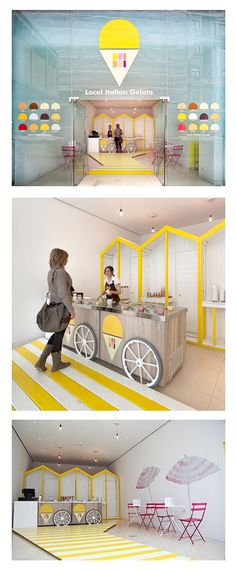 A pop-up Italian ice cream stall at St Martins Lane Hotel in London evokes the seaside with yellow beach huts and striped decking. Kiosk Design, Booth Design, Retail Design, Store Design, Ice Cream Cart, Ice Cream Parlor, Ice Cream Stand, Design Blog, Cafe Design