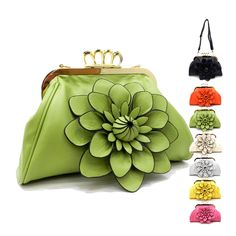 Mirabel clutch.  Good morning, beautiful! It's time to take on a bold look that will maintain your cheerful mood all afternoon. Start with this flower bag for inspiration. Then unsnap this clutch and get the idea to button on an flower-print blouse. Just like this purse's Clip-lock closure, add your back-zipped wedges, and exercise the option of attaching its shoulder strap. Everyone will envy your adventurous look today!   $22.95 + Free Shipping
