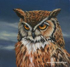 """8X8 oil painting of an owl at dusk titled  """"Night Vision""""."""