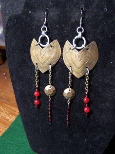 hand stamped brass plate, beaded earrings. $17.00, via Etsy.