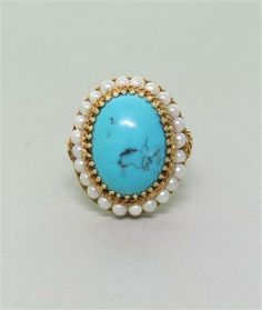 14k Gold Turquoise Pearl Ring. Available @ hamptonauction.com for the May 18, 2014 auction!