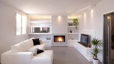 Porta tv in cartongesso Living Room White, Living Room Colors, Living Room Modern, Interior Design Living Room, Living Room Designs, Living Room Decor, Modern Fireplace Mantles, Home Fireplace, Fireplace Remodel