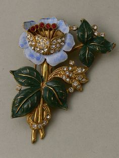 Large handpainted 1940s flower pin clip, USA - Glitzmuseum