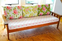 take a simple wooden sofa and turn it into a real beaty