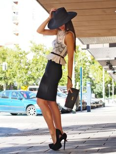 Adorable Fashion Styles For Stylish Girls: lace top with black pencil skirt and stylish hat..in love