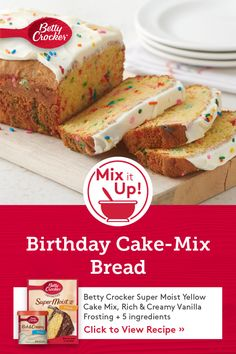 Sweeten your next celebration with this simple and colorful cake-mix bread! A great alternative to a sheet cake, this recipe makes two loaves, so you can double your fun. Cake Mix Recipes, Baking Recipes, Dessert Recipes, Dessert Ideas, Cake Ideas, Vegan Recipes, Easy Desserts, Delicious Desserts, Yummy Food