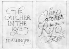 """j.d. salinger book jacket designs by seb lester (approved by salinger himself), 2010    """"It turns out that JD Salinger had some very basic (and strict) rules about how he wanted his book covers to look. He was adamant that the only copy that should appear on his books was his name and the title of the book."""""""