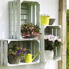 crates - paint 'em for decorative plant shelving