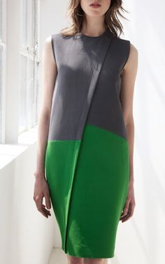 This sleeveless two-tone pique Cedric Charlier dress features a high round neck and an asymmetric front faux placket.Hidden zip back closure57% ramine, 41% rayon, 2% other fibersUnlinedMade in ItalyPlease note: This item is returnable for credit or full refund.